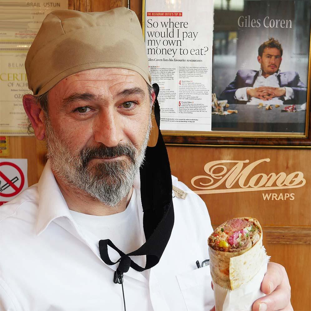 Giles Coren review Mono Wraps shawarma wrap in London Holloway Arsenal E.Mono emono Halal restaurant feed the lion